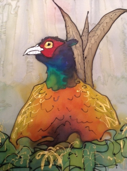 Pheasant silk painting