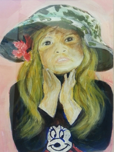 Girl in hat painting