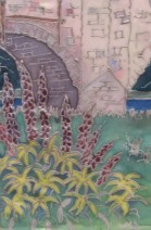 lupins silk painting