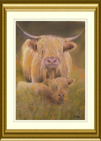 Highland cow & calf artwork