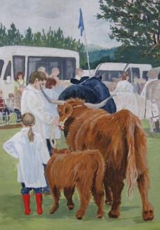 Highland cows painting
