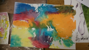 swirly colourful watercolour painting
