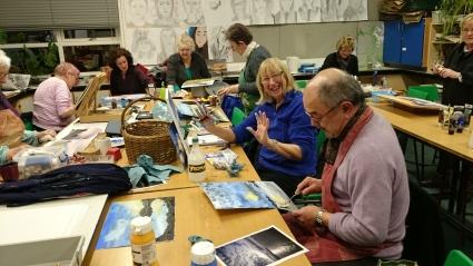 Finger painting lesson
