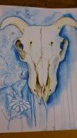 watercolour pencils skull