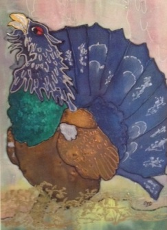 capercaillie silk painting