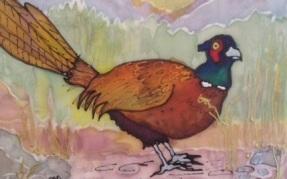 pheasant silk painting