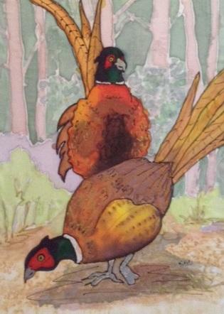 pheasants silk painting