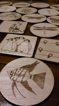 coasters fish penguins birds laser cut