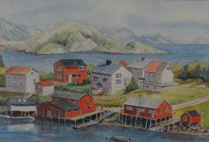Norwegian Village watercolour painting