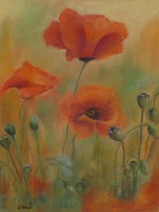Fallen Heroes Norma Polson pastel drawing of poppies