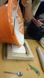 pouring plaster