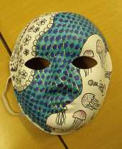 Chequered mask with flowers and jellyfish