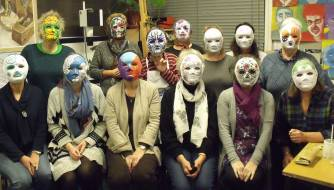 Spey Art Group in masks