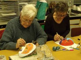 Norma & Liz painting masks