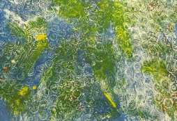 Blue, yellow and green print of bubble wrap