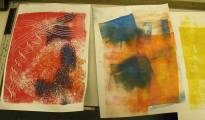Three abstract colourful prints