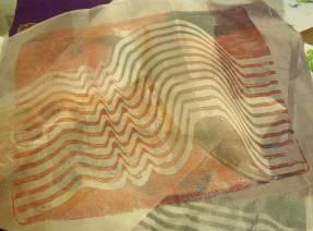 wavy lines printed onto silk