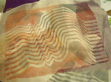 wavy lines printed onto silk