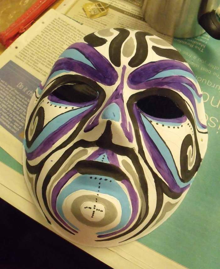 Purple black silver swirly mask