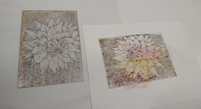 An etching plate of a flower and its print