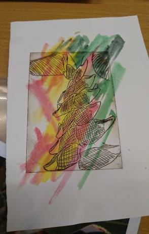 pink yellow green paint overlaid with black line print