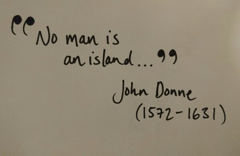 No man is an island handwritten