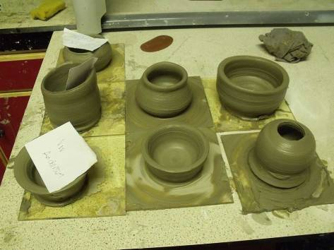 The pots ready for firing